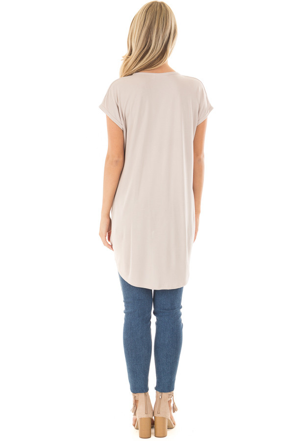 Taupe Short Sleeve Hi Low Top with Twist Front Detail back full body