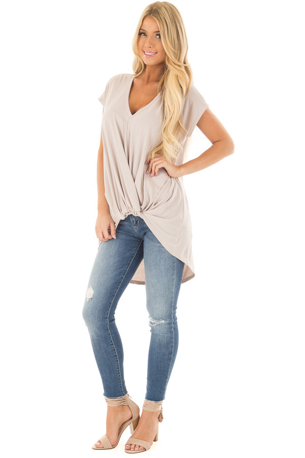 Taupe Short Sleeve Hi Low Top with Twist Front Detail front full body