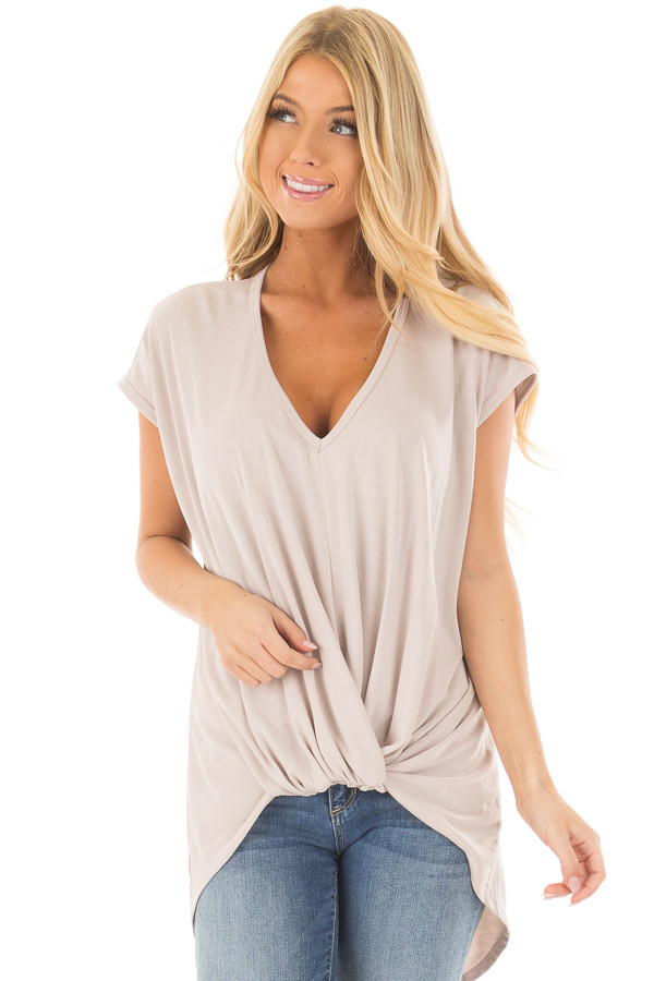 Taupe Short Sleeve Hi Low Top with Twist Front Detail front close up