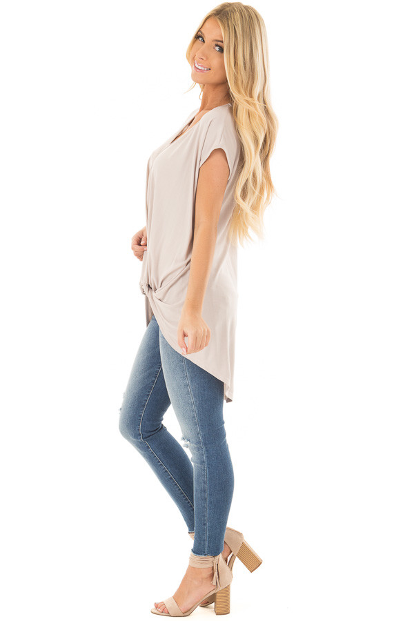 Taupe Short Sleeve Hi Low Top with Twist Front Detail side full body