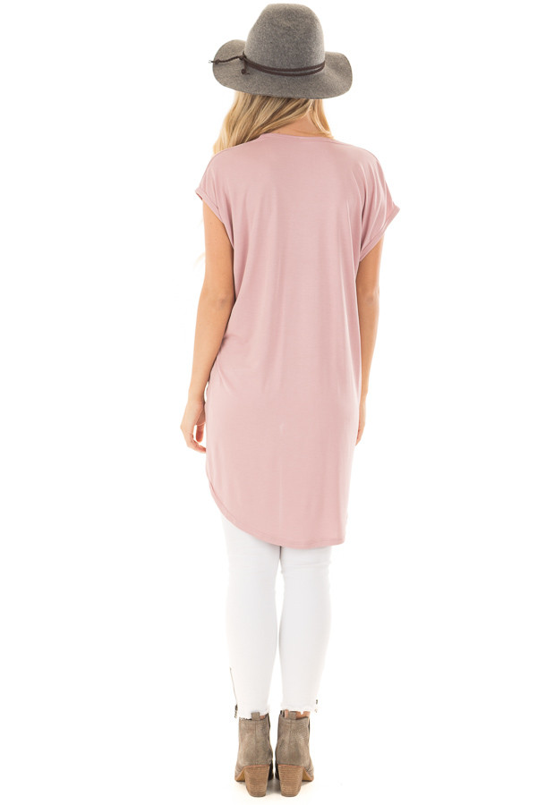 Blush Short Sleeve Hi Low Top with Twist Front Detail back full body