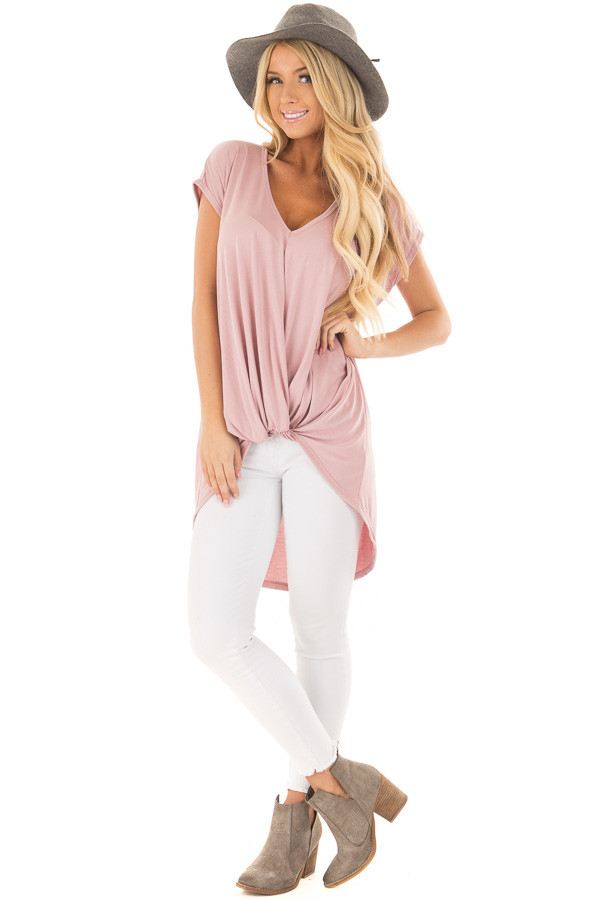 Blush Short Sleeve Hi Low Top with Twist Front Detail front full body