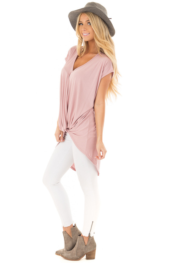 Blush Short Sleeve Hi Low Top with Twist Front Detail side full body