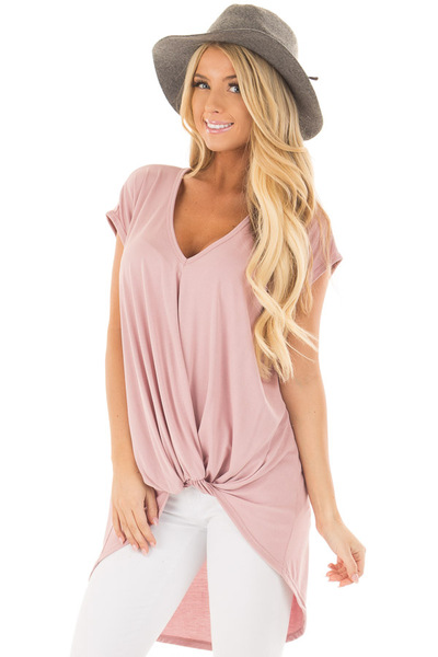Blush Short Sleeve Hi Low Top with Twist Front Detail front close up