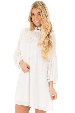 Off White High Neck Dress with Bubble Sleeves front close up