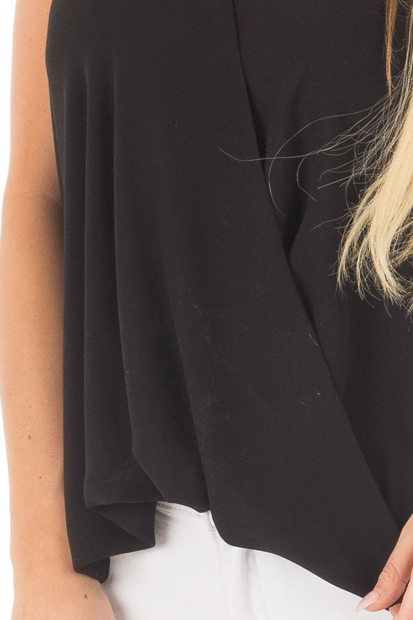 Black Cross Over Halter Top detail