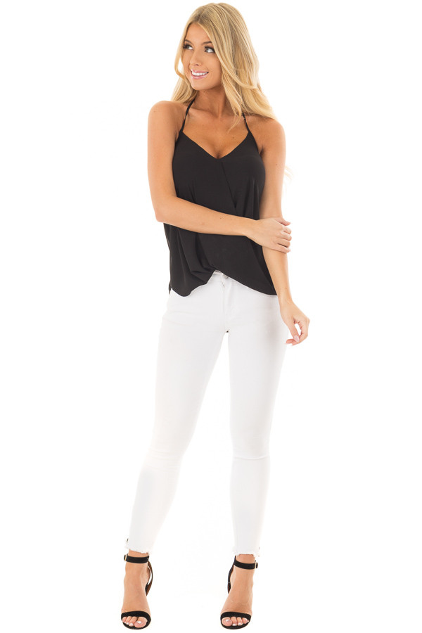 Black Cross Over Halter Top front full body