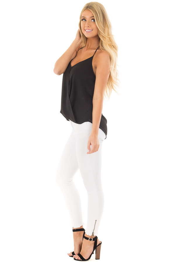 Black Cross Over Halter Top side full body