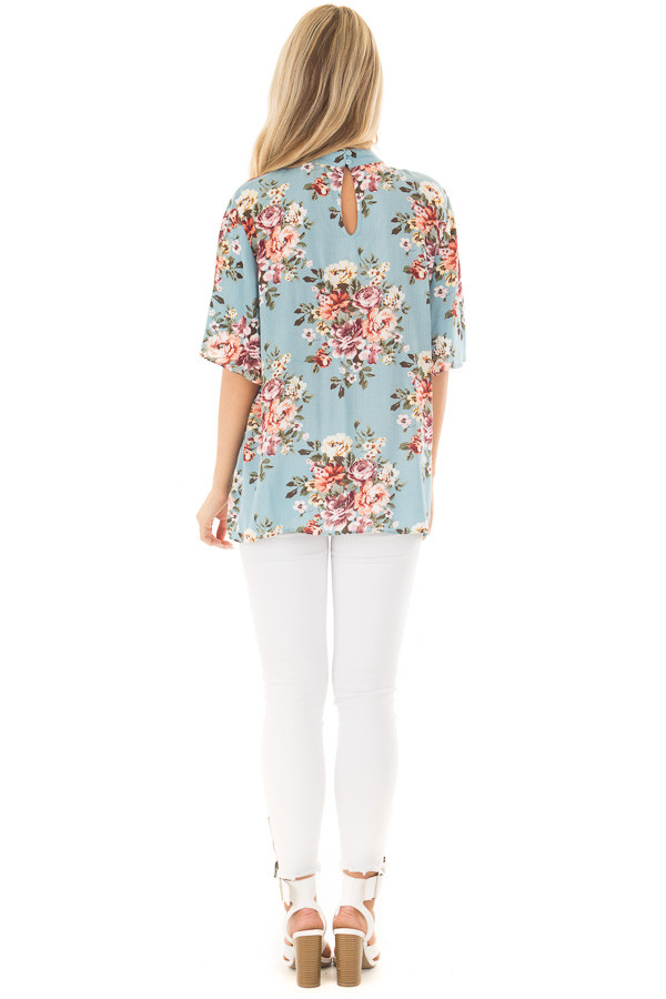 Soft Blue Floral Print Blouse with Keyhole Neckline back full body