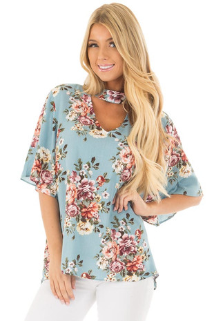 Soft Blue Floral Print Blouse with Keyhole Neckline front close up