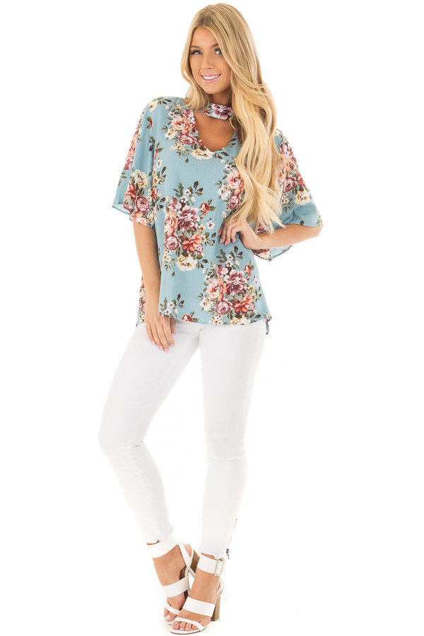 Soft Blue Floral Print Blouse with Keyhole Neckline front full body