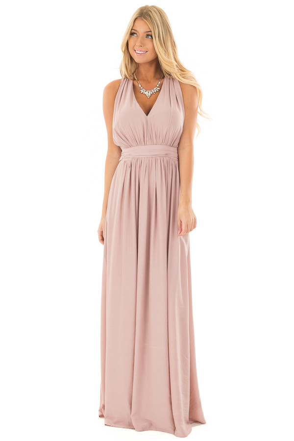 Light Mauve Maxi Dress with Criss Cross Open Back front full body