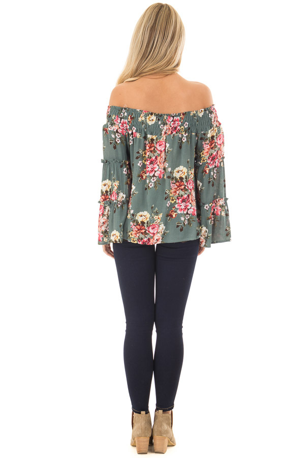 Dark Sage Floral Print Off Shoulder Top with Bell Sleeves back full body