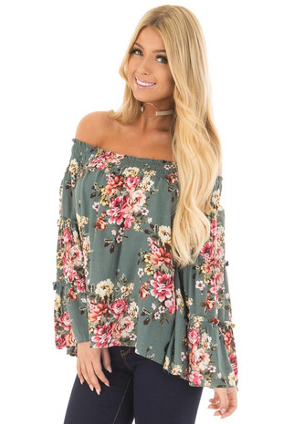 Dark Sage Floral Print Off Shoulder Top with Bell Sleeves front close up