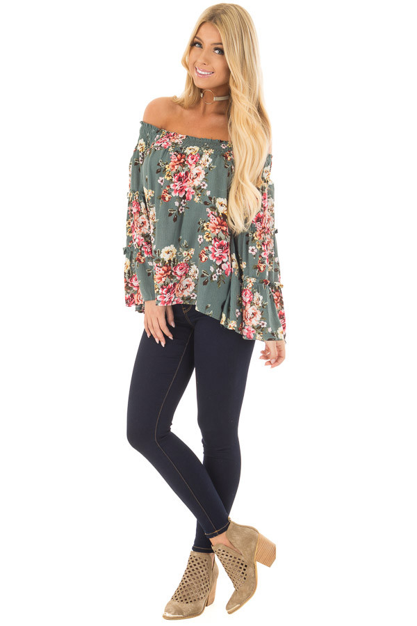 Dark Sage Floral Print Off Shoulder Top with Bell Sleeves front full body