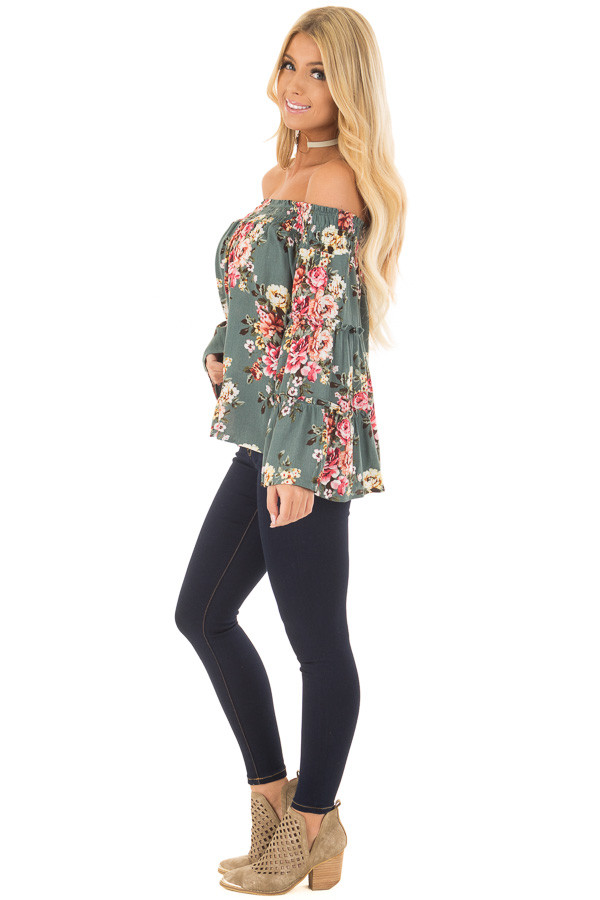 Dark Sage Floral Print Off Shoulder Top with Bell Sleeves side full body