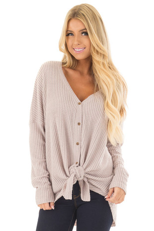 Misty Pink Waffle Knit Button Up Long Sleeve Top front close up