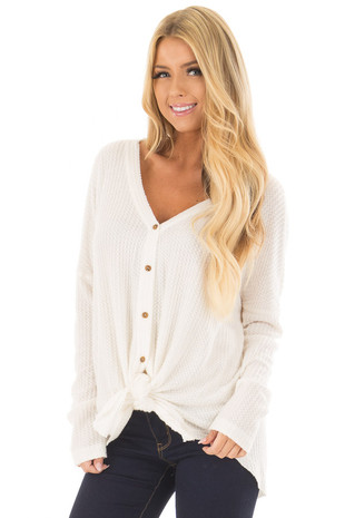 Ivory Waffle Knit Button Up Long Sleeve Top front close up