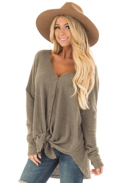 Dusty Olive Waffle Knit Button Up Long Sleeve Top front close up