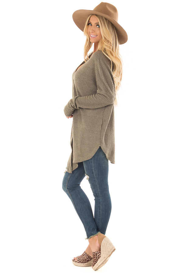 Dusty Olive Waffle Knit Button Up Long Sleeve Top side full body
