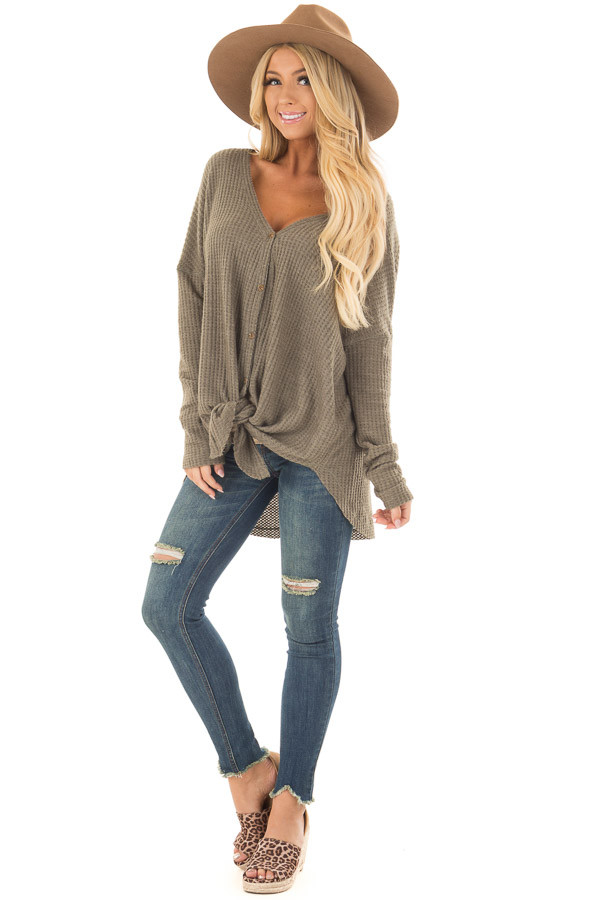 Dusty Olive Waffle Knit Button Up Long Sleeve Top front full body