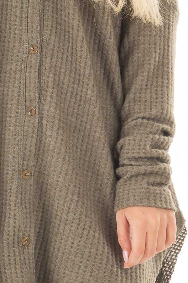 Dusty Olive Waffle Knit Button Up Long Sleeve Top detail