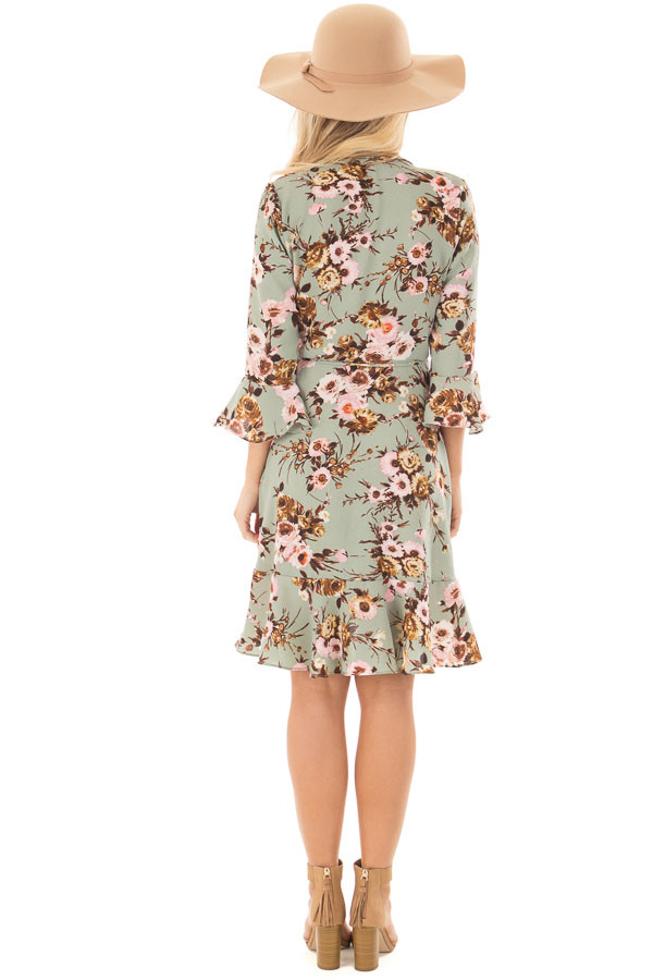 Mint Floral Wrap Dress with Flare Sleeves back full body