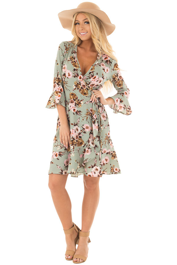 Mint Floral Wrap Dress with Flare Sleeves front full body