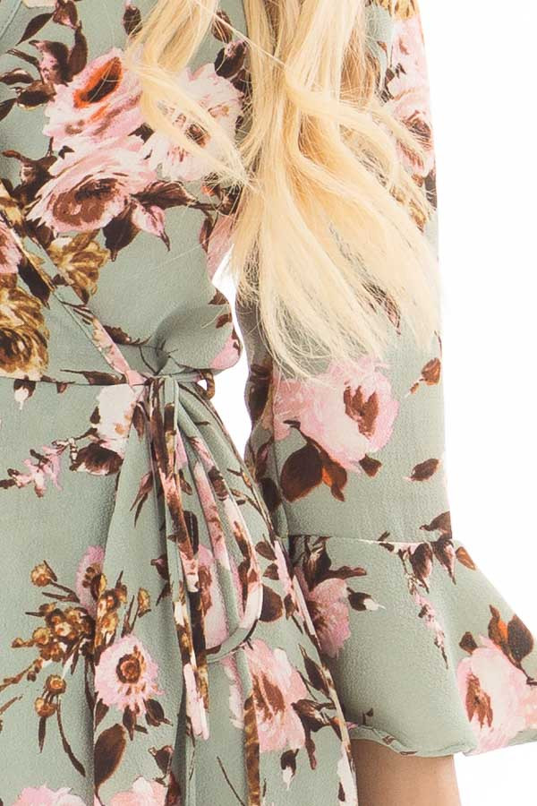 Mint Floral Wrap Dress with Flare Sleeves detail