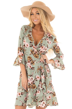Mint Floral Wrap Dress with Flare Sleeves front close up