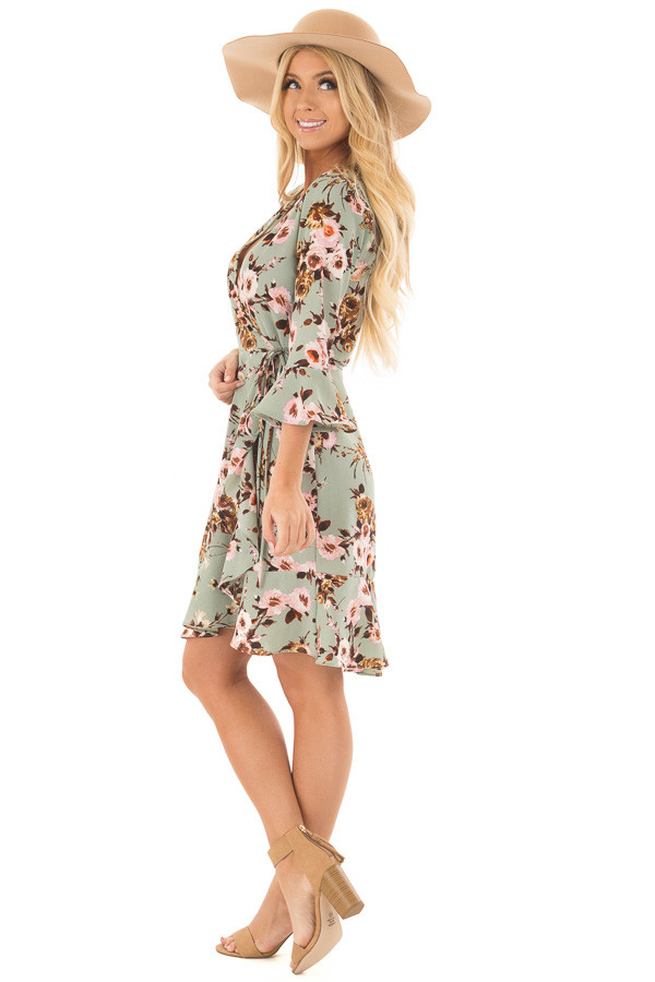 Mint Floral Wrap Dress with Flare Sleeves side full body