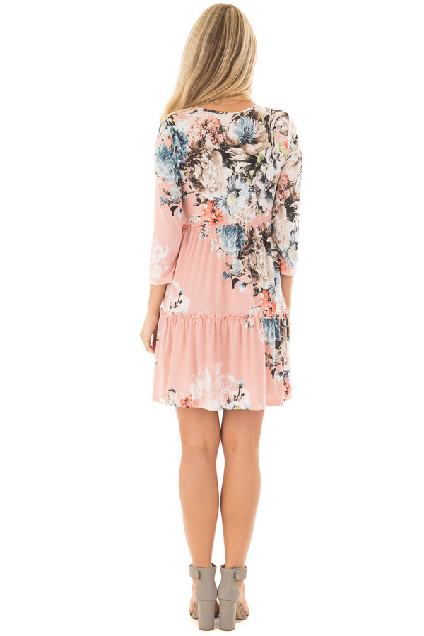 Blush Floral Print Baby Doll Dress with Ruffle Details back full body