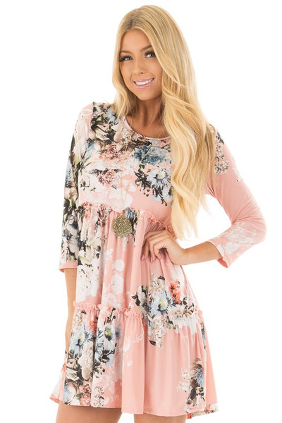 Blush Floral Print Baby Doll Dress with Ruffle Details front close up