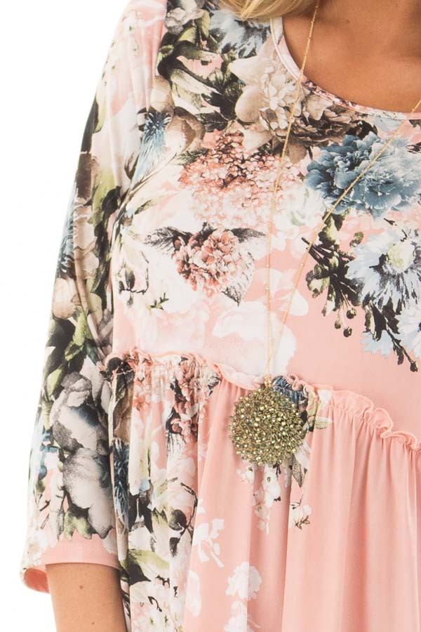 Blush Floral Print Baby Doll Dress with Ruffle Details detail