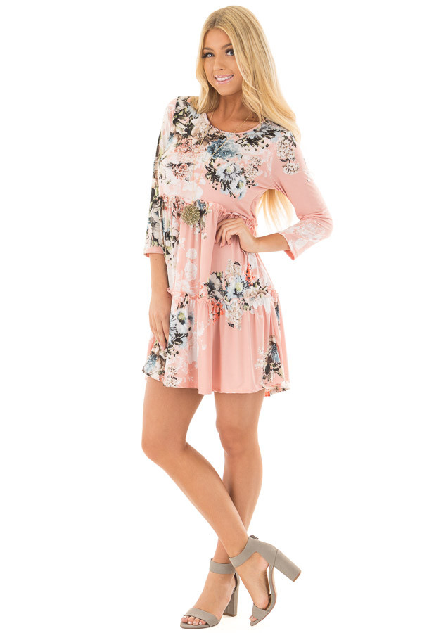 Blush Floral Print Baby Doll Dress with Ruffle Details front full body