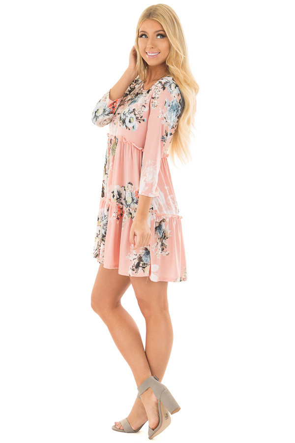 Blush Floral Print Baby Doll Dress with Ruffle Details side full body