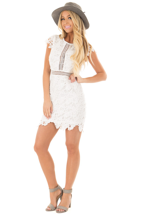 White Lace Dress with Sheer Crochet Details front full body