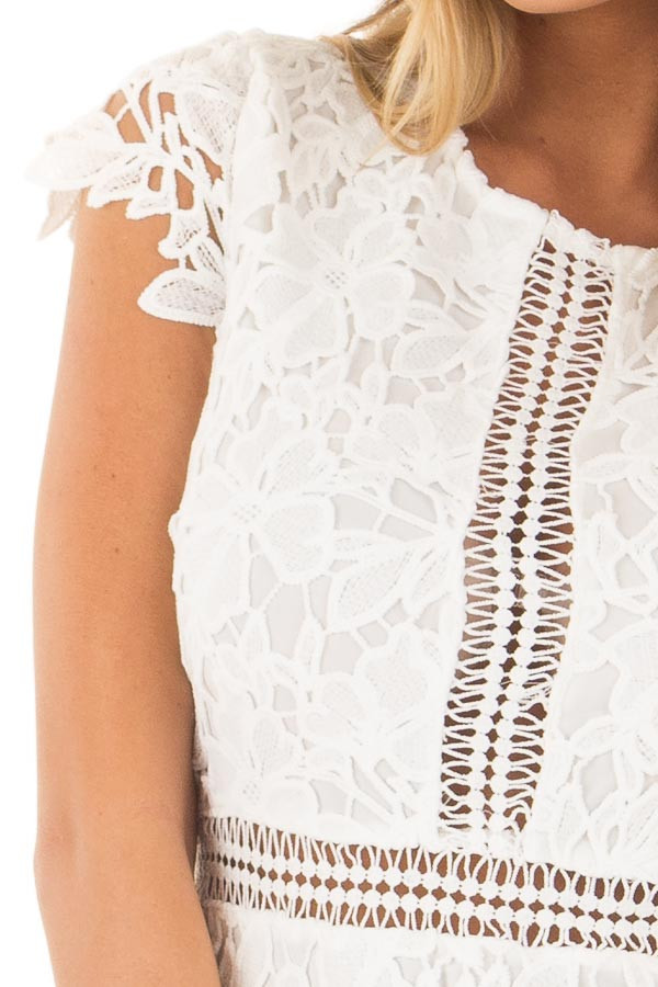 White Lace Dress with Sheer Crochet Details detail