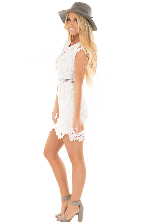 White Lace Dress with Sheer Crochet Details side full body