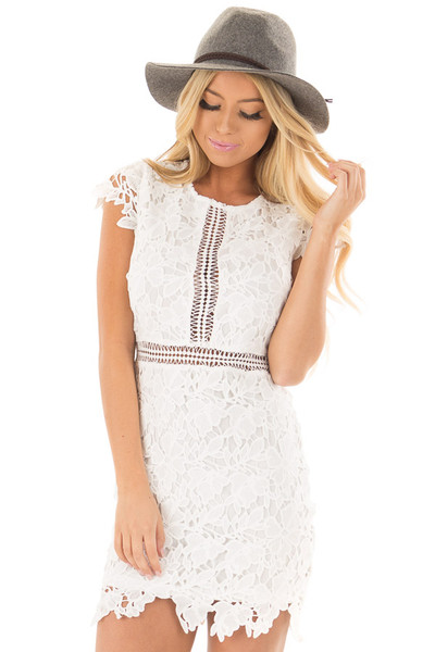 White Lace Dress with Sheer Crochet Details front close up
