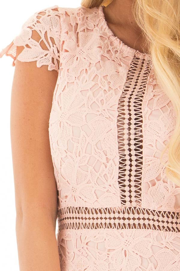 Blush Lace Dress with Sheer Crochet Details detail