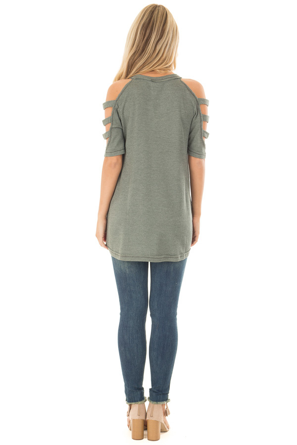 Forest Green Waffle Knit Top with Short Ladder Cut Sleeves back full body