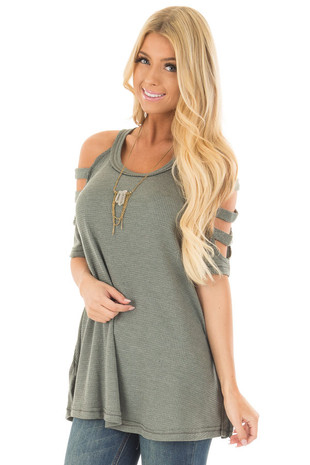 Forest Green Waffle Knit Top with Short Ladder Cut Sleeves front close up