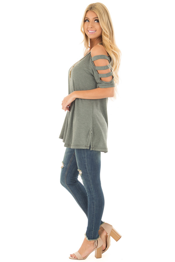 Forest Green Waffle Knit Top with Short Ladder Cut Sleeves side full body