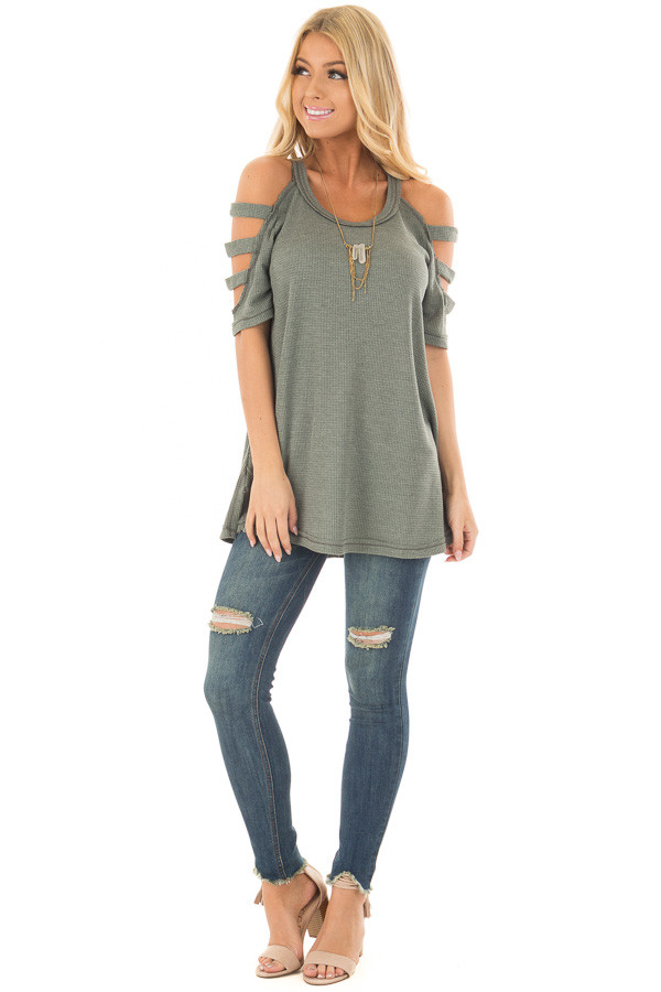 Forest Green Waffle Knit Top with Short Ladder Cut Sleeves front full body