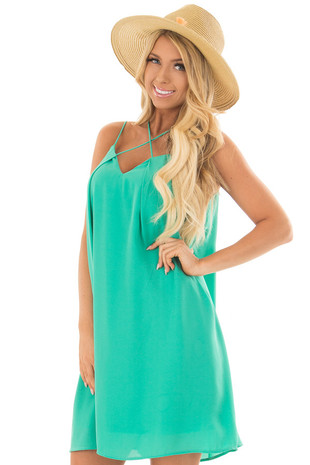 Jade Green Chiffon Spaghetti Strap Dress front close up