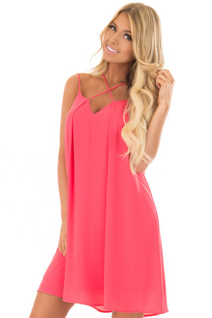 Cherry Pink Chiffon Spaghetti Strap Dress front close up