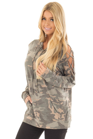Olive Camo Print Hoodie with Criss Cross Cold Shoulders front close up