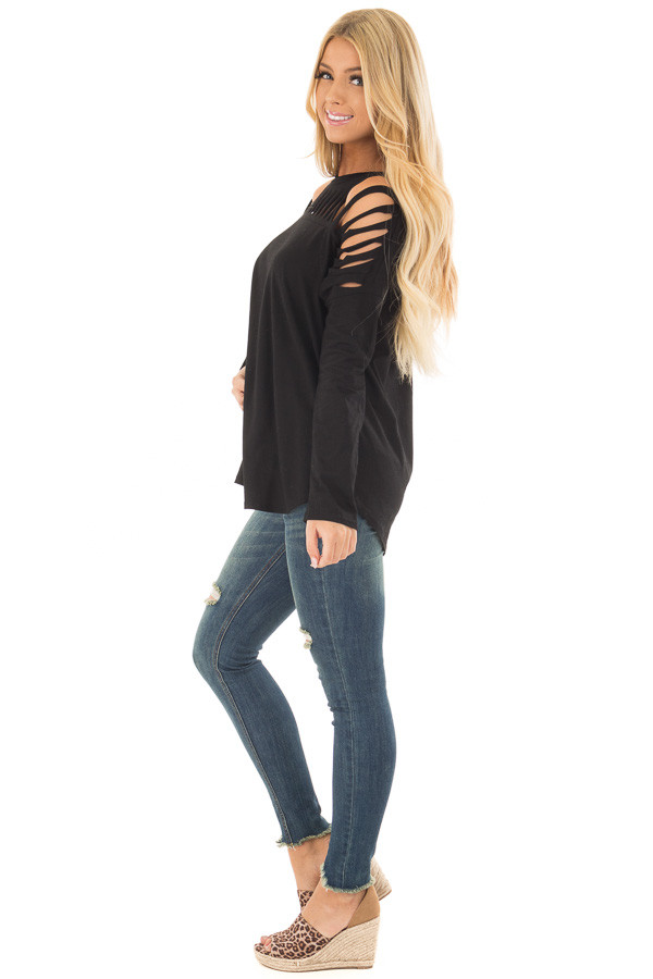 Black Top with Distressed Neckline side full body