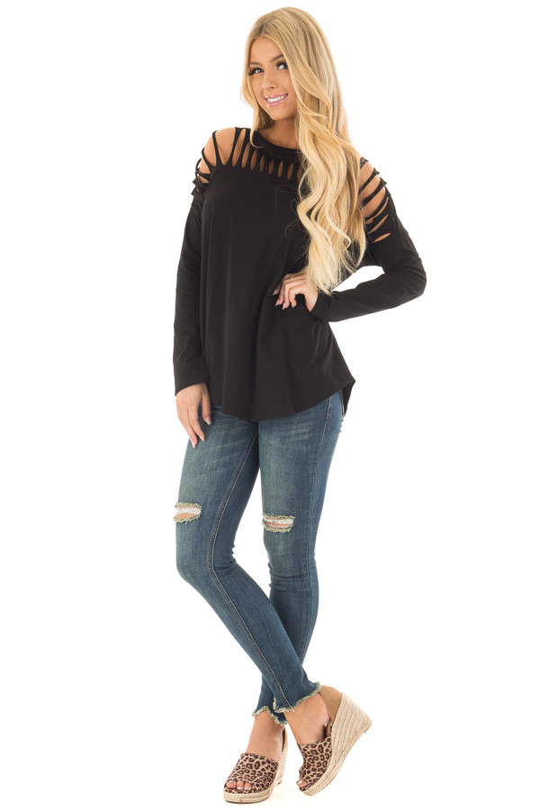 Black Top with Distressed Neckline front full body
